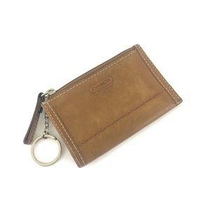 Coach Leatherware Card Holder Keychain Zip Purse